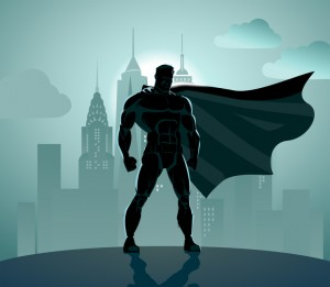 Superhero in City: Superhero watching over the city.